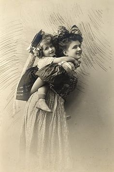"""Mother and daughter (or sisters?) in """"Bavarian"""" costumes, c. early 20th C."""