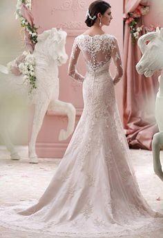 Elegant Tulle V-neck Neckline Empire Waistline Long Sleeves A-line Wedding Dress