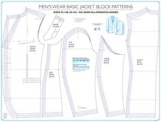 Chart Mens Basic Formal Jacket Pattern Block by Shoben Fashion Media - This item is a special order, if there is no stock currently available please contact us to backorder (takes approx. Ready to Use Full Size BLOCK PATTERN Use this Dog Coat Pattern, Blazer Pattern, Suit Pattern, Coat Patterns, Jacket Pattern, Sewing Patterns, Paper Patterns, Mens Tailor, Pattern Grading