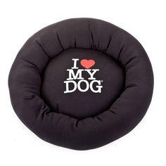 Panier et niche pour chien : Panier I love my dog noir 70 cm - 80e