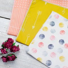 One beautiful handmade handkerchief set. Includes three 100% cotton handkerchiefs in beautiful peach, mustard yellow and gold arrows, and polka dot prints. Hand rolled and presented in a beautiful box, this is the perfect wedding gift for the mother of the bride, bridesmaid, maid of honour or for your bridal party. It also makes a great wedding favour gift too! Available to purchase from Etsy.