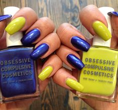 Nail inspiration: TWO-TONED TECHNOPAGAN MANICURE by Obsessive Compulsive Cosmetics. Find the products that were used to get this look on the #TheBeautyBoard>  #Sephora #nailspotting #nailpolish
