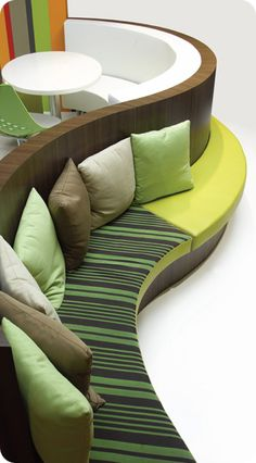 This would be gorgeous if the greens were a slate blue and the yellow-green was a lighter blue. Living Furniture, Sofa Furniture, Furniture Projects, Furniture Design, Curved Bench, Booth, Restaurant Seating, Clinic Design, Banquette Seating