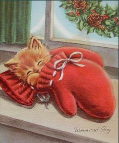 "Vintage ""Kitten in The Mitten Warm Cosy "" Christmas Greeting Card Norcross Christmas Kitten, Cosy Christmas, Christmas Scenes, Christmas Animals, Retro Christmas, Cottage Christmas, Images Vintage, Vintage Christmas Images, Vintage Cat"
