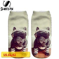 SLMVIAN 3D Digital Printed Animal Cat Dog Women Socks Unisex Fashion Cute Short Sock Mix Color Women Low Cut Dress Sock
