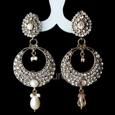 Get Attractive With This Golden Color Coated Earings Embelded With White Color Stones, Designed To Suit The Woman If Today. #EthnicEarrings