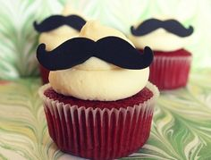 I do not claim any of these delicious cupcakes as my own. Nom on my little cupcakes. Everyone loves a fucking cupcake Moustache Cupcakes, Mustache Party, Mustache Theme, Mustache Birthday, Red Velvet Cupcakes, Mustache Decorations, Favim, Let Them Eat Cake, Cupcake Cakes
