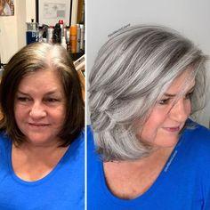 Hairdresser-Gray-Hair-Makeovers-Jack-Martin Grey Hair Transformation, Grey Hair Inspiration, Gray Hair Highlights, Chunky Highlights, Caramel Highlights, Layered Bob Haircuts, Transition To Gray Hair, Brown Blonde Hair, Golden Blonde