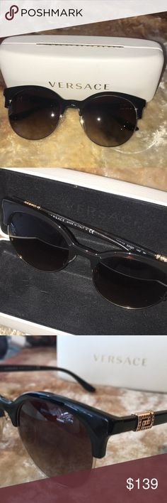 2dc9b0e4d9236 Versace women s sunglasses Dark brown frames with gold trim Brown tent  lenses with a rhinestone design