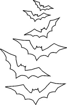 A collection of free printable stencils to Halloween. Simple print, cut out (there's a link to instructions if you're unsure) and you're ready for some seasonal fun!: Free Halloween Stencil: Swarm of Bats Theme Halloween, Halloween Window, Halloween Bats, Holidays Halloween, Halloween Cut Outs, Halloween Design, Halloween Stencils, Halloween Templates, Halloween Patterns