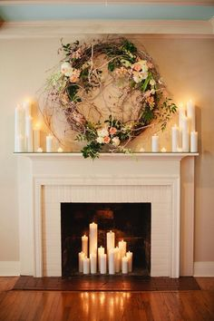 Wedding from Kristyn Hogan + Cedarwood Weddings Gorgeous Ceremony Backdrop: Fireplace decorated with romantic candles and a beautiful wreath.Gorgeous Ceremony Backdrop: Fireplace decorated with romantic candles and a beautiful wreath. Christmas Fireplace Mantels, Candles In Fireplace, Fake Fireplace, Fireplace Ideas, Decorative Fireplace, Fireplace Design, Farmhouse Fireplace, Faux Mantle, Simple Fireplace