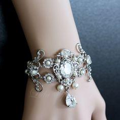 Art Deco style Wedding Cuff Bracelet Statement Bridal Bracelet Vintage filigree scrolls Pearl and crystal Wedding Jewelry AYLA