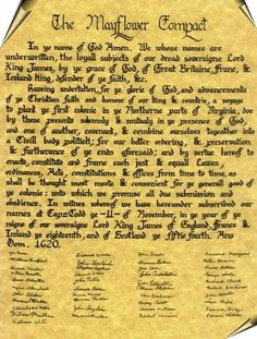 The Mayflower Compact signed by my ancestors John Alden, Francis Cooke, Stephen Hopkins, William Mullins, and Richard Warren. The Mayflower … Today In History, Us History, Family History, American History, History Class, Teaching History, Mayflower Compact, Stephen Hopkins, Pilgrim Fathers