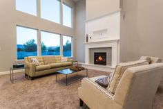 Great room in our Hathaway plan. Modern Furniture, Family Room, Home, Building A House, Glass End Tables, Interior Design, Fireplace, Great Rooms, White Mantel