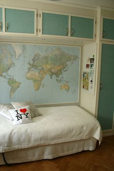 Large wall map. I would just change the pillow that says NY and have a Paris one.