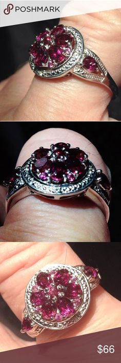 Sz 8 GENUINE Grape Tourmaline Luxury Cluster Ring Brand New! TAG ON! Size 8 -RARE! *RARE! Genuine mined Grape Tourmaline Luxury Cluster Platinum/.925 Sterling Silver (nickel free) excellent quality stones and well crafted USA made ring - bought from a USA based Jewelry Store ! Has completed undergallery for comfort and protection of lifetime of the stones ! 6- fancy faceted ovals , 2-fancy faceted pears - plus 6- small fancy faceted round accent stones . 13 stones together Comes with a FREE…