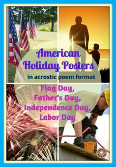 These 4 posters teach students about the origins & customs of Flag Day, Father's Day, Independence Day & Labor Day. Written as acrostic poems, these easy-to-assemble posters also make great models when teaching a poetry unit. Writing & grammar activities plus 5 suggestions for orally discussing the holidays are included, too. Appropriate for all students, including ELLs at lower levels of language proficiency.