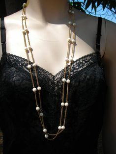 Long Strand of Goldtone Chain and Faux by jobellaswearwithal
