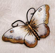 Vintage Hans Myhre Sterling Guilloche Enamel Butterfly Brooch Large Size Detailed Realistic Design