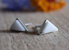 Small triangle silver studs earrings , tiny cute geometrical white marble posts earrings, minimal white studs, everyday love stud earrings by albertomilanese on Etsy