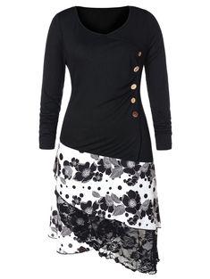 5b09ec587db7 Plus Size Buttons High Low Women Long Top Blouse Floral Longline Tee Top T- shirt