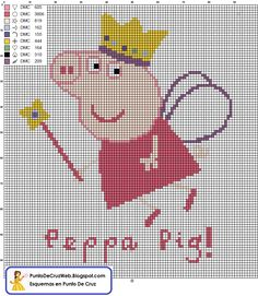 Peppa pig is a program I know about but have never actually seen. My niece love's peppa pig and has had more than one Peppa Pig themed party. Intarsia Patterns, Crochet Blanket Patterns, Knitting Patterns, Peppa Pig, Cross Stitching, Cross Stitch Embroidery, Machine Embroidery, Hand Embroidery, Cross Stitch Charts