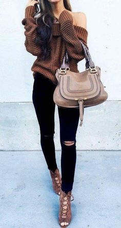 Like: texture and colour of the top, paired with black pants Dislike: of the shoulder style Unsure: thickness of the knit top