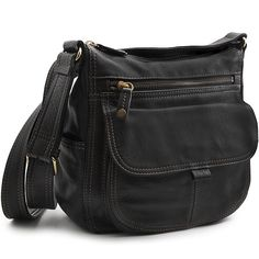 black leather handbag with shoulder strap Black Leather Handbags, Messenger Bag, Shoulder Strap, Satchel, Retail, Shopping, Fashion, Women's Work Fashion, Girly