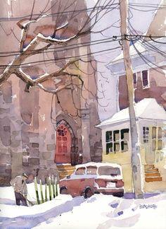 """Shovelling"" by artist Shari Blaukopf Watercolor City, Watercolor Sketch, Watercolor Artists, Watercolor Landscape, Watercolour Painting, Watercolors, Urban Painting, Tag Art, Watercolor Architecture"