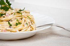 Pumpkin Carbonara - use tofu noodles