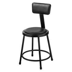 National Public Seating Stool with Padded Seat and Backrest - 6418B-10