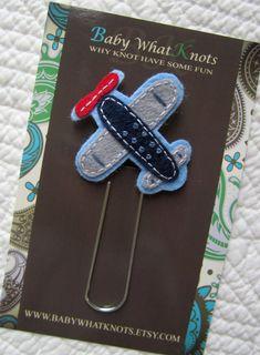 Kids Boys Airplane Bookmark Felt Plane Bookmark by BabyWhatKnots
