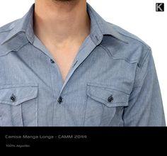 CAMISA MANGA LONGA - Canelado Azul Claro - CAMM2044 (REF. 140430)