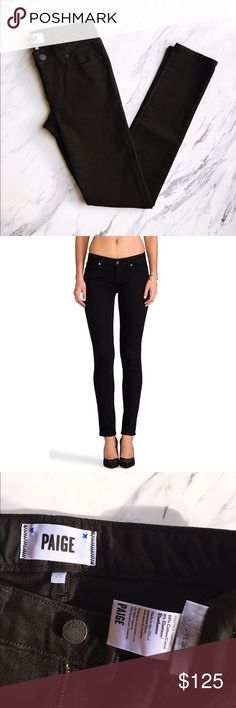 Paige Black Skyline Skinny Jeans Gently worn a few times, practically perfect condition. Fading on the sizing and interior tags, but that's the only sign of wear. Perfect black jeans for fall! Paige Jeans Jeans Skinny