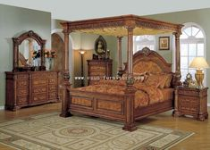 western bedroom furniture sets. Classic Mid Century Master Bedroom Design with King Size Carved  Brown Wooden Canopy Poster Bed and Furniture Sets Western Crossroads Gallery