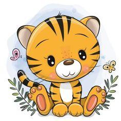 Baby Animal Drawings, Cartoon Drawings Of Animals, Cute Cartoon Animals, Cartoon Pics, Cute Drawings, Baby Animals, Tiger Drawing For Kids, Tiger Cartoon Drawing, Tiger Illustration