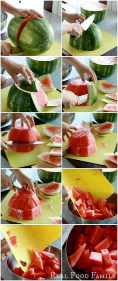 The easiest way to cut a watermelon! ~ I hate watermelon,lol! Must pin for the family Fruit Recipes, Real Food Recipes, Yummy Food, Healthy Snacks, Healthy Eating, Healthy Recipes, Cooking Tips, Cooking Recipes, Cut Watermelon