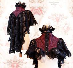 Capelet Vespertilio, M-XL, victorian shrug, red black capelet, historical, Somnia Romantica by Marjolein Turin