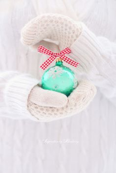 mint christmas ornament and red ribbon, such a pretty color combination