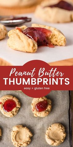 Peanut Butter Thumbprint Cookies with Jam These Peanut Butter Thumbprint Cookies taste just like a sweet, mini PB&J! Soft, chewy, easy to make, and gluten free! Gluten Free Peanut Butter, Healthy Peanut Butter, Peanut Butter Recipes, Gluten Free Cookies, Gluten Free Sweets, Jelly Cookies, Jam Cookies, Yummy Cookies, Empanadas