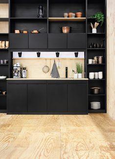 Black wooden kitchen