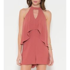 Peach High Neck Romper Woven crepe ruffle detailed romper with halter tie at neck. PR02161  •Fits true to size. This is not fitted and is backless, measurements may not match up exactly to what you usually wear. W measurement was taken where the zipper is, and H measurement depends on where your hips hit.  S-B: 32 W: 26 H: 34-36 M-B: 34 W: 31 H: 36-38 L-B: 36 W: 32 H: 36-38  •Please do not buy this listing I'll make you one!  •95% POLY 5% SPAN •Made In the USA  ❌No trades ❌No PayPal ❌No…