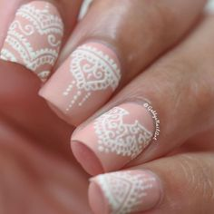 Nude Nails With White Lace Detail