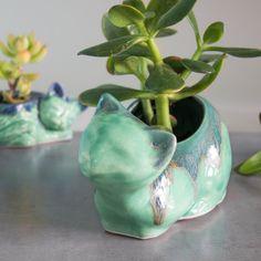 Ceramic mama cat planter, pencil holder, succulent air plant, mint green blue, cat lover, co worker gift ,office desk decor,...