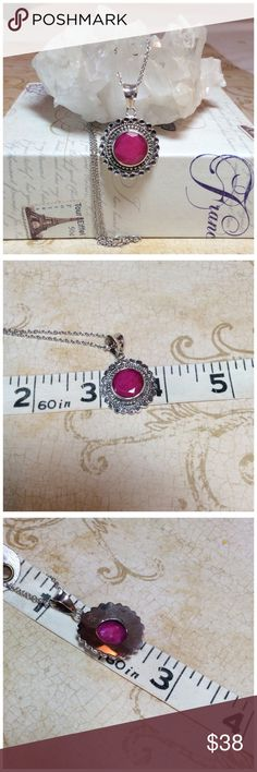 "NATURAL RUBY PENDANT Pretty dark natural ruby set in a southwestern style 9.25 Sterling silver setting with a thin 20"" chain. Has a large bail could accommodate a nice thick chain. Excellent condition Jewelry Necklaces"