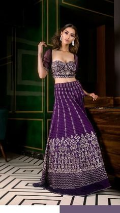 Lehenga Pattern, Half Saree Designs, Strapless Dress Formal, Formal Dresses, Fashion Dresses, Women's Fashion, Purple, Dresses For Formal, Fashion Show Dresses