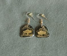 Antler Earrings Gold/Black Buffalo-hand painted by TandPCrafts