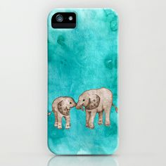 Baby Elephant Love - sepia on watercolor teal iPhone & iPod Case by Perrin Le Feuvre - $35.00. Available on different Iphone models and samsung galaxy phones...