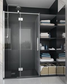 NEWGLASS - Mampara abatible Bathroom Medicine Cabinet, Home Remodeling, Tall Cabinet Storage, Shelving, Condo, Sweet Home, Restaurant, Ideas Para, Inspiration