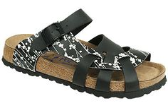 Pisa Soft Footbed Pearl Black/Black Birko-Flor The footbed of this unique style is layered with a dense foam to give you cushioned comfort all day. It is wonderful for sensitive feet. The curved strap and woven design hug your feet and the footbed supports your arches. Resoleable. #birkenstock #birkenstockexpress.com  $99